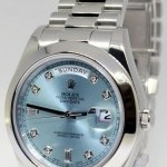 Rolex Day Date II Platinum Glacier Diamond Dial Mens Wat