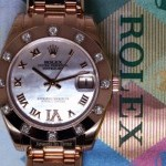 Rolex Pearlmaster 18k Rose Gold  Diamonds MOP 34mm BoxPa