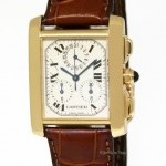 Cartier Mens Tank Francaise Chronoflex 18k Yellow Gold Qua