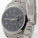 Rolex Date Steel Mens Automatic Watch Black Dial Oyster