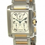 Cartier Mens Tank Francaise Chronoflex Steel 18k Yellow Go