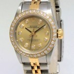 Rolex Oyster Perpetual No Date 18k Yellow Gold Steel Dia