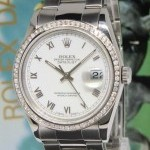 Rolex Datejust Stainless Steel White Dial Diamond Bezel
