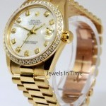 Rolex 31mm Datejust President 18k Yellow Gold MOP Diamon