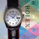 Rolex Vintage Date Stainless Steel MOP Diamond BlackRed