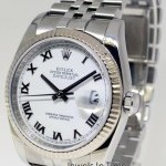 Rolex Datejust 18k White Gold  Steel Mens Automatic Watc