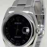 Rolex Mens Datejust 116200 Steel Oyster Bracelet Black J