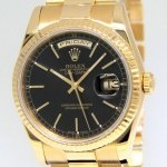 Rolex Day-Date President 18k Yellow Gold Black Dial Mens