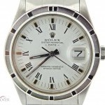 Rolex Mens  Date Stainless Steel Watch wWhite Roman Dial