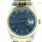 Rolex Mens  Datejust 2tone 18k Yellow GoldSS Watch w Blu