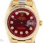 Rolex Mens Solid 18k Gold Day-Date President Watch wRed