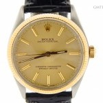Rolex Mens  14k GoldSS Oyster Perpetual Leather Watch wG