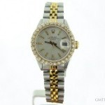 Rolex Ladies  Date 2tone 14K GoldSS Watch wSilver Diamon