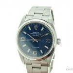 Rolex Mens  Air-King No Date Stainless Steel Watch wBlue