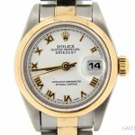 Rolex Ladies  2tone 18k GoldSS Datejust Watch wWhite Rom