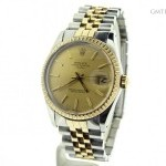 Rolex Mens  Date 2tone 18k Yellow GoldSS Watch wGold Dia