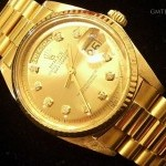 Rolex Mens  Day-Date President 18k Gold Watch wGold Diam