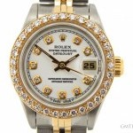 Rolex Ladies  2tone 18k GoldSS Watch wWhite Diamond Dial