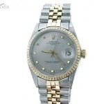 Rolex Mens  Date 2tone 14k Yellow GoldSS Watch wGray Dia