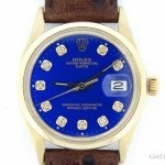 Rolex Mens  14k Yellow Gold Date Leather Watch wBlue Dia
