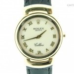 Rolex Ladies  18k Yellow Gold Cellini Watch wWhite Roman