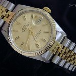 Rolex Mens  Datejust 2tone 18k Yellow GoldSS Watch w Gol