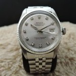 Rolex Datejust 1601 Ss Silver Diamond Dial With Folded J