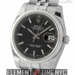 Rolex 36mm Stainless Steel Fluted Bezel Black Index Dial