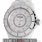 Chanel White Ceramic Mother Of Pearl Diamond Dial Quartz
