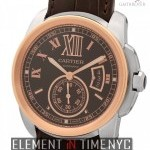 Cartier Calibre Steel  18k Rose Gold Chocolate Dial
