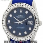 Rolex 36mm Sodalite Serti Diamond Dial Blue RubberB