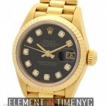 Rolex President Ladies 18k Yellow Gold Black Diamond Dia