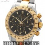 Rolex Stainless Steel  18 Karat Yellow Gold Black Dial
