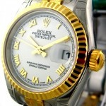 Rolex Steel  Yellow Gold White Dial 26mm