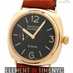 Panerai 18k Rose Gold 8 Days Black Dial 45mm