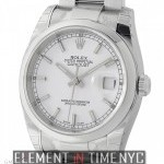 Rolex Steel 36mm Domed Bezel White Index Dial