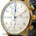 IWC Chronograph 18k Rose Gold Silver Arabic Dial