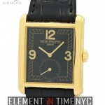 Patek Philippe 18k Yellow Gold Black Dial Manual Wind