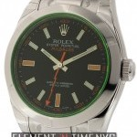Rolex Stainless Steel Black Dial Green Crystal 40mm