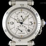 Cartier Stainless Steel Power Reserve GMT Pasha Gents W310