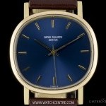 Patek Philippe 18k Yellow Gold Rare Blue Dial Cushion Case Automa