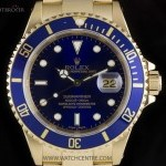 Rolex 18k Yellow Gold OP Blue Dial Submariner Date Gents
