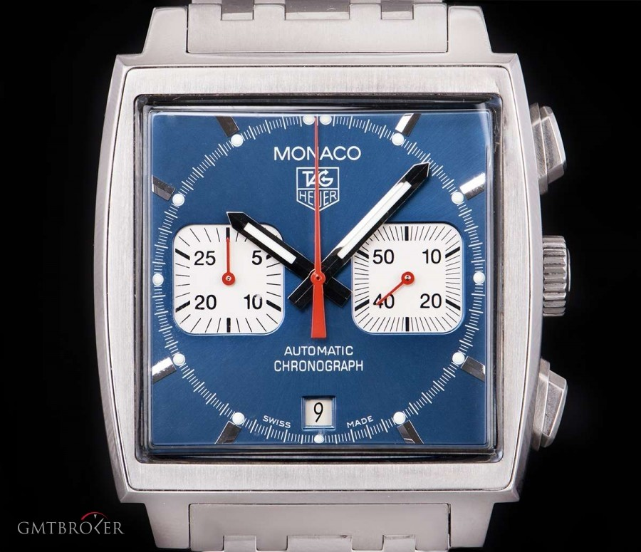 Tag Bp Blue Monaco Cw2113fc Heuer Gents Steel Stainless Dial Ow80knPX