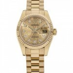 Rolex Datejust 18K Gold Custom Diamonds Dial Ladie
